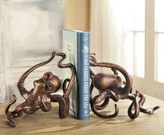 Octopus Sculpture Brass Tan Hot Patina Coastal Tropical Nautical Desktop Shelf
