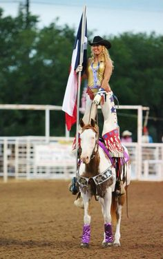 Leah Self of the Dynamite Dames. Www.dynamitedames.com follow us on FB Cowgirl, trick riding, trick rider, fitness, paint horse, rodeo