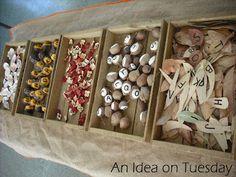 Literacy: Alphabet Sorting alphabet on leaves, rocks, shells, scrabble tiles
