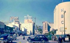 The Hollywood and Vine corner is the one with the legendary reputation, but for my money, it's the Sunset and Vine intersection that hold endless fascination for me. Take this circa late 1940s photo for example: We can see Tom Breneman's Hollywood restaurant, the Hollywood Plaza Hotel, the Broadway Hollywood department store, and the NBC Studios, which by then had become the KNBH television studios. AND it's all in color. What's not to love?