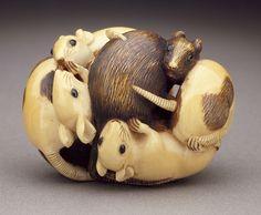 Chikuyosai Tomochika (Japan, Edo (Tokyo), 1800 - 1873)  Seven Rat Group, mid-19th century  Netsuke, Ivory with staining, sumi, inlay