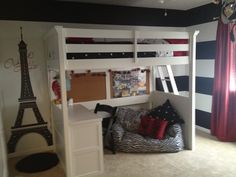 Paris themed Black white & red tween bedroom...get ready with some Frog tape....definitely a must have for stripping these bold walls!