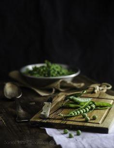 Estilismo culinario para fotos de guisantes