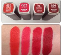 Bellynim: Maybelline NEW Matte Shades Swatch Mac Lipstick Shades, Maybelline Lipstick, Lipstick Swatches, Makeup Swatches, Makeup Dupes, Lipstick Colors, Red Lipsticks, Makeup Cosmetics, Nyx Dupes