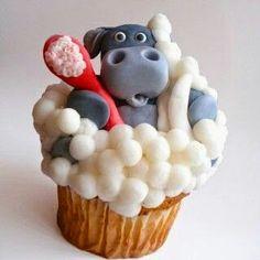 a rhino in a cup cake. . .