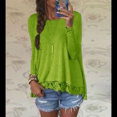 New gorgeous bright green top Rated 5⭐️⭐️⭐️⭐️⭐️ numerous times.  Poly/cotton blend Tops