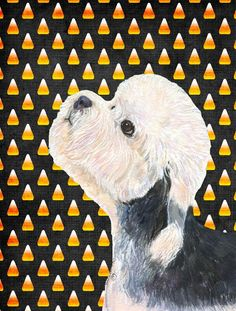 Dandie Dinmont Terrier Candy Corn Halloween Portrait Flag Canvas House Size