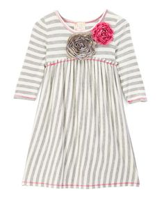 Love this Heather Gray & Ivory Stripe A-Line Dress - Toddler & Girls on #zulily! #zulilyfinds