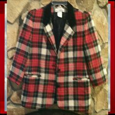 Jacket, White Stag, What's Hot! Jacket, White Stag,  red, white and blue plaid, 100% wool with velour feel collar, MAKE OFFERS  WHAT'S  HOT! White Stag Jackets & Coats Blazers