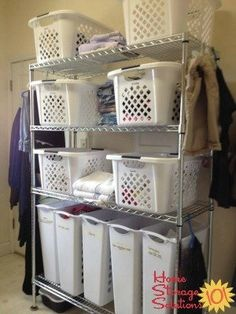 Gathering and sorting all dirty laundry, and clean laundry into laundry room on shelves can make it so much easier to get the whole process done {featured on Home Storage Solutions 101}
