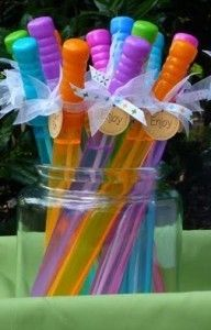 birthday party bubbles. could turn them into princess wands!