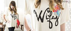 """LOVE this Judith March """"Wifey"""" tee! Perfect wedding gift. Buy it here: http://eccentricsboutique.com/cream-short-sleeve-wifey-tee-2946.html"""