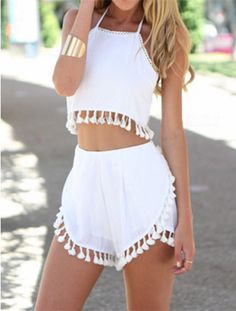 White Fringe Two Piece
