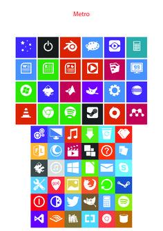 Metro icon design. tile-achtig. Icoontjes vanaf windows 8. heel strak met felle kleuren als achtergrond. Telkens wit icoontje.