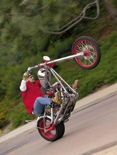 Wheelie on a chopper....how cool is that!