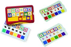 Self-checking learning system designed exclusively for preschoolers. Snap the colored frames onto the answers, then pull down the tray to check the results. If the color of the frame and square are the same, it's a match!