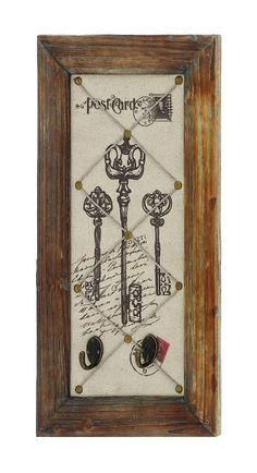 Post Card Wall Panel Set Wood Frame Antique Key Home Accent D Lamp Lighting