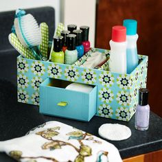 Good Groupings- Keep supplies for specific tasks in one easy-to-transport carrier. Store it on a shelf and lift it out when you need it. Here, mani and pedi supplies fit into one portable mail sorter.