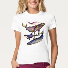 A colorful T-shirt for Whale lovers, Complimentsguaranteed !Made in Polyester and Cotton Waisted fit Cosy See guide below
