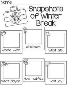 Winter writing prompts: FREE Snapshots of winter break graphic organizer writing prompt. Great for the first day returning to school. Kindergarten Writing, Teaching Writing, Writing Activities, Writing Prompts, Literacy, Kindergarten Graduation, Teaching Resources, New Years Activities, Holiday Activities