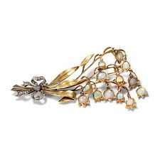 Maiglöckchen um 1900: Opal Gold Platin Diamant Brosche / Opale Diamanten Brooch
