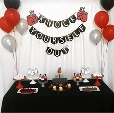 Boxing party ideas,fight night, boxing, fight night party ideas, boxing party decorations, boxing baby, boxer, knock yourself out, boxing party ideas,boxing baby shower, boxing birthday party, fight night dessert table, fight night ideas,boxing party ideas fight night, boxing food ideas