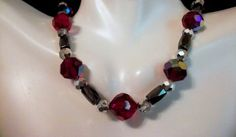 Red and Silver Mirror Bead with Hematite Bead Necklace 3 Piece Set; Beaded Jewelry Sets; Hematite Beaded Necklace by CulbertsCreations on Etsy
