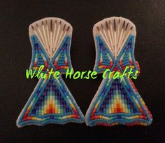 Native Beaded Earrings Tipi design Pow Wow Glitz Glam Using Porcupine Quills WHITEHORSE CRAFTS