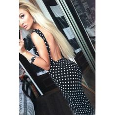 Sexy O Neck Spaghetti Strap Sleeveless Backless Polka Pots Print Black Blending Sheath Knee Length Dress