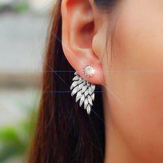 Cheap stud earrings, Buy Quality earrings women directly from China wings earrings Suppliers: 1Pair Charm Vintage Wing Earings Women Jewelry Gold Color Feather Crystal Ear Jacket Stud Earrings