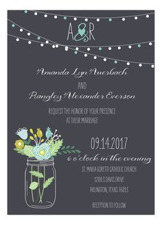Mason Jar Invitation in Mint and Aqua #Bridal