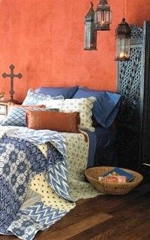 Bittersweet and Periwinkle by lupe Love the terra cotta walls with the blue bedding gorgeous colors together