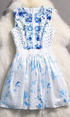 Blue and white porcelain dress