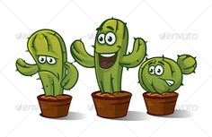 3 x Cactus Characters — Vector EPS #green #cool • Available here → https://graphicriver.net/item/3-x-cactus-characters/99290?ref=pxcr