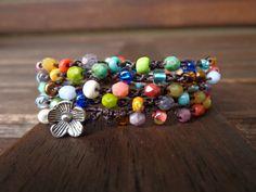 Crochet Wrap Bracelet Necklace Colorful  Beads & by LoveStarStudio, $15.00