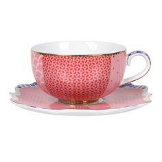 PiP Studio - 'Royal' Collection - Teacup w/ Saucer -- superbe tasse à café de couleur rose, de la collection royal, décoration florale raffinée s'associe avec le reste de la collection Royal