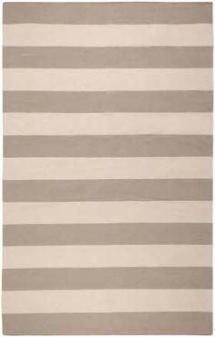 Gray White Striped Rug