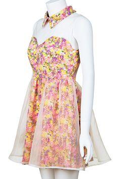 #romwe Dual-tone Sleeveless Floral Dress