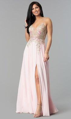 9547c58f322 V-NECK OPEN-BACK BEADED JVN BY JOVANI PROM DRESS V-neck Sleeveless