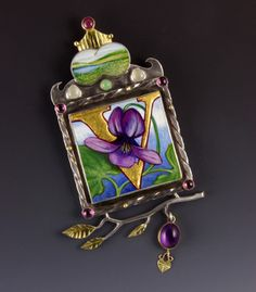 Sarah Wauzynski Brooch/pendant in sterling silver, egg tempra on gesso, 18k gold and more. Facere GAllery, Seattle WA