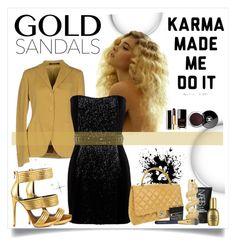 """Gold Sandals"" by stranjakivana ❤ liked on Polyvore featuring moda, Tagliatore, Balmain, Mia Limited Edition, Chanel, NARS Cosmetics, Kilian, Estée Lauder y goldsandals"