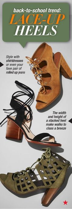 Pretty soon you'll be running between classes with zero minutes to spare. How can you look cute and feel comfy too? Go for lace-up heels in a stacked or wedge style. These sturdy shoes let you strut confidently as soon as that bell rings. Score a few pairs at Macy's!