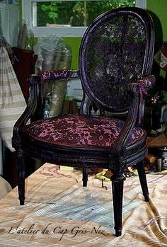 Alkemie: Traditional French Upholstery ~ L'Atelier du Cap Gris-Nez interesting with open lace back