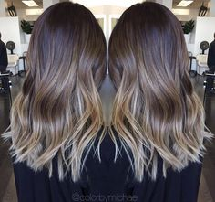 Medium length ombre hair Blonde and brown