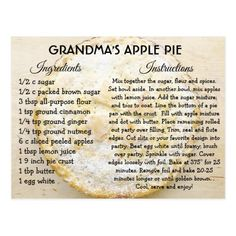 Shop Grandma's Apple Pie Day Recipe Card created by TimefortheHolidays. Personalize it with photos & text or purchase as is! Pumpkin Pie Recipe Card, Pumpkin Pie Recipes, Apple Recipes, Apple Pie Recipe Easy, Lemon Recipes, Old Recipes, Vintage Recipes, Baking Recipes, Recipies