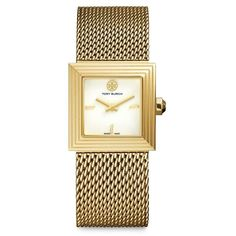 Tory Burch Sawyer Goldtone Stainless Steel Mesh Bracelet Watch ($730) ❤ liked on Polyvore featuring jewelry, watches, apparel & accessories, gold, square dial watches, gold tone watches, crown bracelet, chain bracelet and dial watches