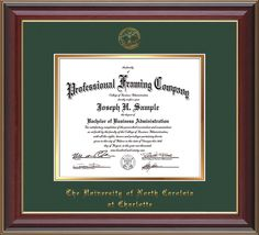 UNC Charlotte Diploma Frame - Cherry Lacquer - w/UNCC seal Green/Gold – Professional Framing Company
