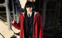 Submarine (2010) -  red duffle coat