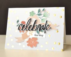 A white card base with a beautiful gold foil dotted pattern paper