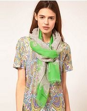 ASOS Fashion Finder | Jonathan Saunders Bright Paisley Silk Scarf Wine